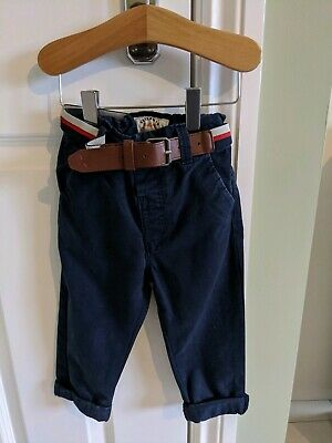 Next Boys Navy Belted Chino Trouser 1.5-2 Worn Once Excellent Condition