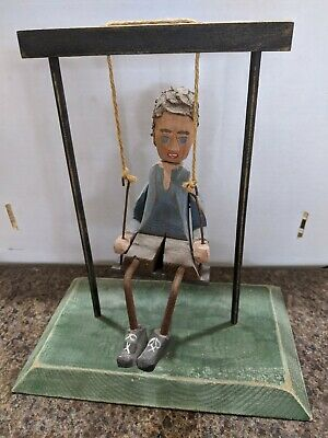 Wooden Folk Art Carving Rustic Child On Swing from Fairfield La Habra CA