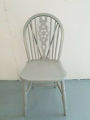 Solid pine Farmhouse Country Wheelback Dining chair Painted in Manor House Gray