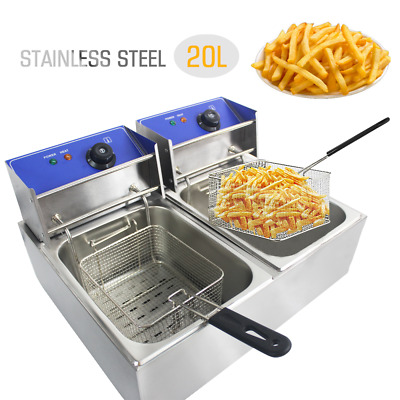 20L Electric Deep Fat Fryer Commercial Stainless Steel Chip Pan Basket Oil Tank