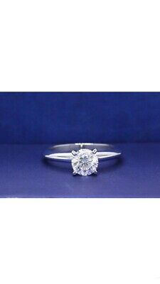 .98 ct 14k White Gold Leo Round Cut Diamond Solitaire Engagement Ring