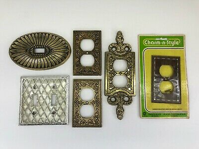Vintage Lot Ornate Metal Switch Outlet Plate Covers M.C. Co. 3100 Brass Tone