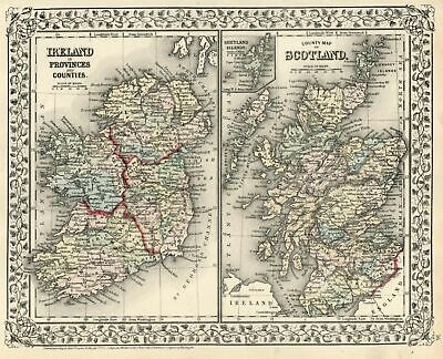 Ireland & Scotland British Isles Hebrides Shetland Islands 1872 Mitchell map
