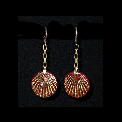 "~VTG 20's ART DECO ""EGYPTIAN REVIVAL"" RED GLASS DISK EARRINGS!~~"