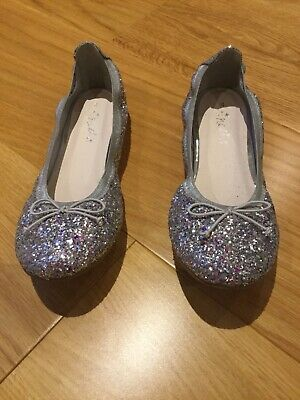 Next Girls Silver Sparkly Shoes Size 4 Worn Once