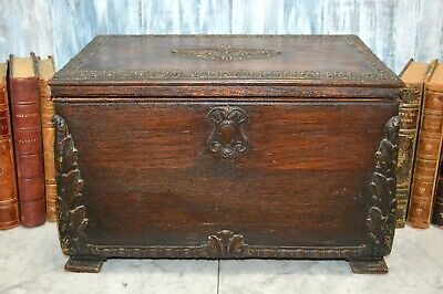 Antique Large French Wood Box Chest Caddy Carved Rosette Medallions Trim