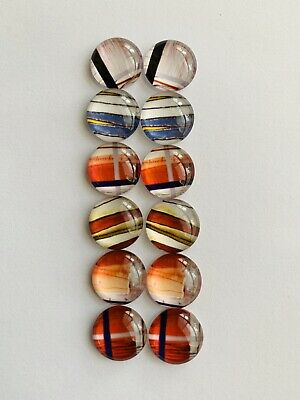 6 Pairs Of 12mm Glass Cabochons #658
