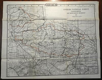 Angeles National Forest California 1945-50 U.S. Geological Survey detailed map