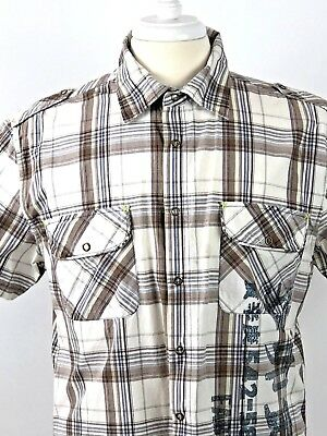 River Island Men's Boy's Slim Fit Short Sleeve Shirt Sz Brown & White Checked Uk