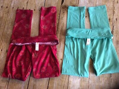Lot of 2 LuLaRoe Leggings Size L/XL Green and Red