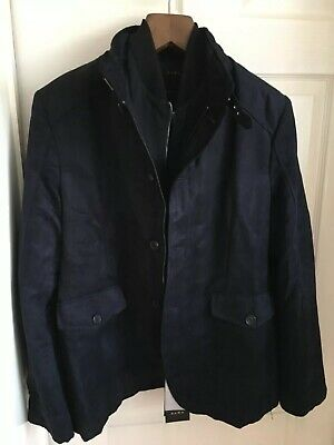 NEW Zara Man Mens Navy Blue Faux Suede Jacket Size 44 Large BRAND NEW Save £££