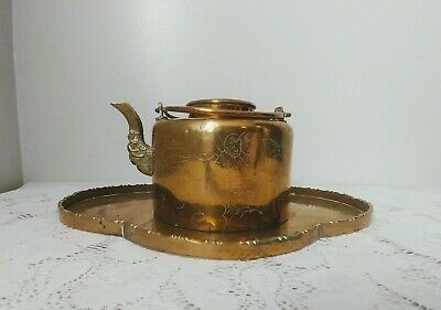 Antique Ornate Brass Chinese Double Handle Teapot & Tray Etched Qing Dynasty