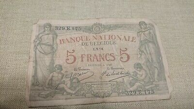 banque nationale de belgique 5 Franc Note Green 1.7.1914