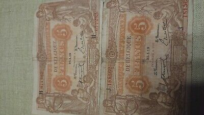 Two banque nationale de belgique 5 Franc Notes  25.1.1919
