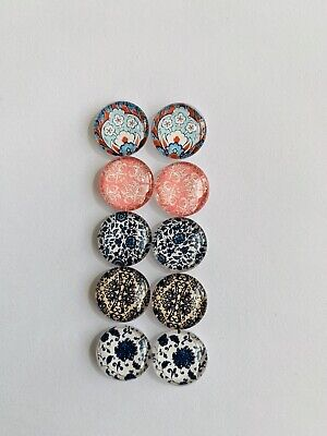 5 Pairs Of 12mm Glass Cabochons #809
