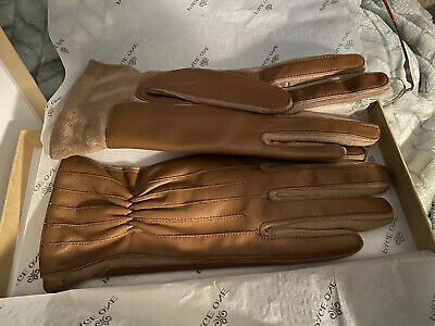 Page One Women's Leather Driving Gloves, Medium- Brown - Brand New