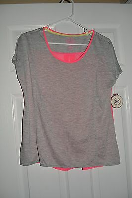 So Woman Gray Hot Pink Short Sleeve Sheer Back Blouse Top Medium M NWT