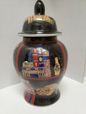 Vintage Hand Painted Porcelain Black Chinese Ginger Jar  w/ornate book designs.
