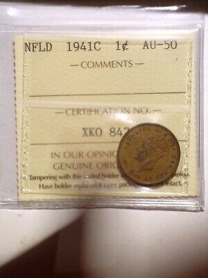 1941C ICCS Graded Newfoundland Small One Cent - NFLD 1C Penny