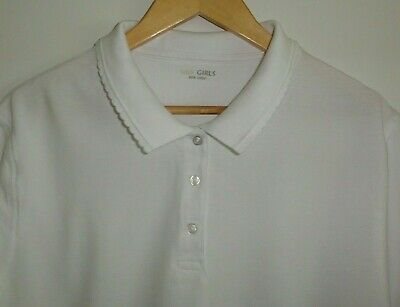 """Older Girls School Polo Shirt White Cotton Size 41"""" Chest Marks And Spencer"""