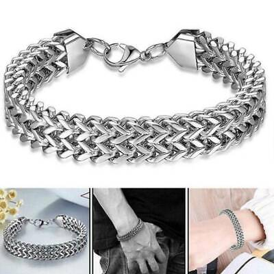 Silver Men's Stainless Steel Chain Link Bracelet Wristband Bangle Punk Jewelry