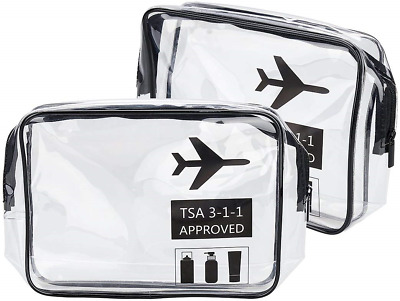 2 Pack Clear Toiletry Bag TSA Approved Travel Carry On Airport Airline Compliant
