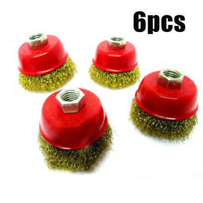 6 X 3'' M14 Rotary Brass Steel Wire Brush Crimp Cup Set Wheel Angle Grinder 75mm