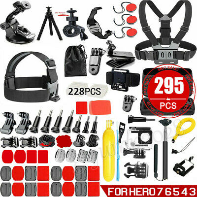 295PCS Accessories Pack Case Chest Head Bike Monopod Float Mount for GoPro Hero