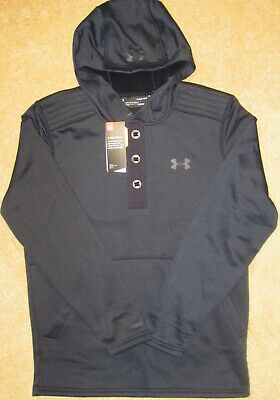 Men's SMALL Under Armour Storm Black 3 Button Hoodie 1343264-001 $75 NWT