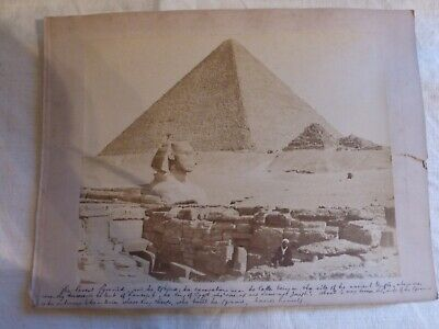 Wonderful large Ancient Egyptian Photo of Spinx Pyramid 19th sepia script