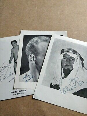 Bundle of 3 British Wrestling Autographs - Rare signature of The Sheik wrestler