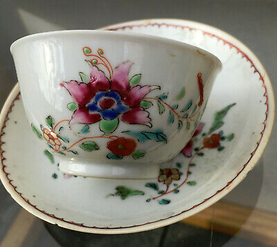 Antique 18th century Chinese Export Ware Porcelain Tea Cup & Saucer