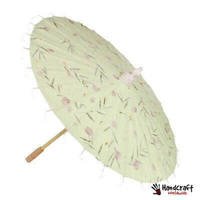 Flower Mulberry Green Paper Parasol Japanese Oriental Asia Parasol Bamboo Craft