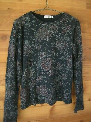 Fresh Produce Navy Blue Tee Top Floral Print White XL 12 14 Long Sleeve Casual