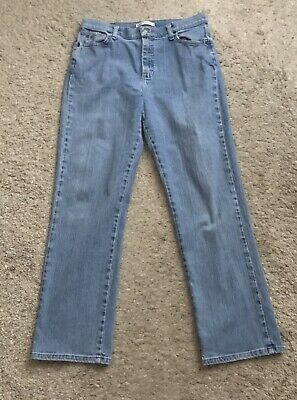 """LEE Womens Size 12 Relaxed Straight Leg At the Waist Denim Blue Jeans 31"""" Inseam"""