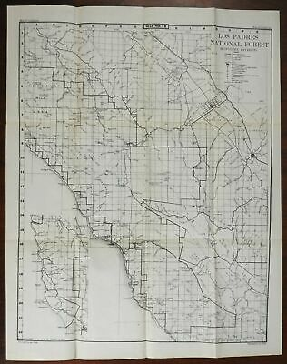 Los Padres National Forest California 1945-50 US. Geological Survey detailed map