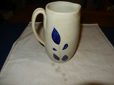 "Williamsburg Pottery 7"" Salt Glazed Stoneware Pitcher Vase Blue leaf Farmhouse"