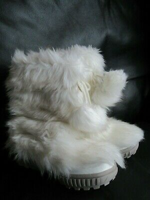 Next Girls Junior Size 2 Faux Fur White/Grey Pom Pom Snow Boots