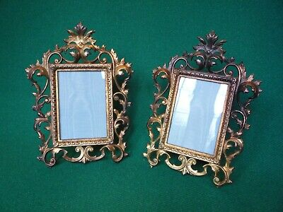 Pair of Gilded Cast Iron Victorian Photo/Picture Frames