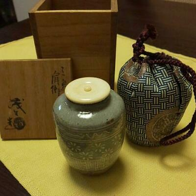 Tea Caddy Ceremony Chaire Mishima-ware Sado Japanese Traditional Crafts t745
