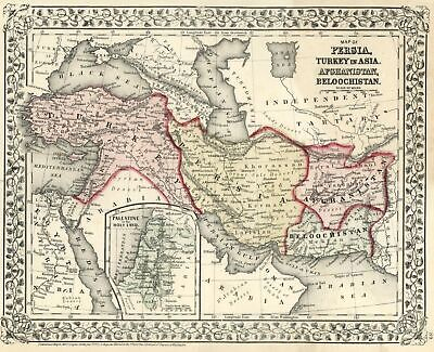 Ottoman Empire Iran Afghanistan Holy Land Israel Palestine 1872 Mitchell map