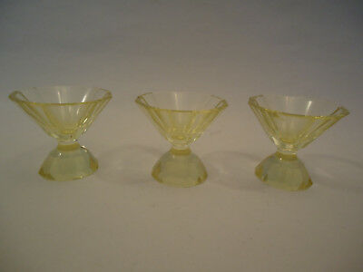 Antique Art Deco Bohemian Yellow - Green Geometric Cups Glasses x3