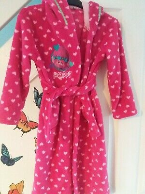 Pink Trolls Dressing Gown Age 7-8years With Hood