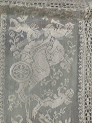 Antique Vintage French Lace Runner Table Piece Embroidery Cupid Victorian