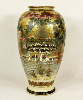 Antique Japanese Ceramic Satsuma Vase Views of Palace