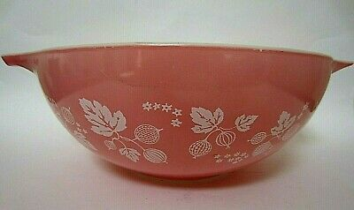 Pyrex Pink Gooseberry Nesting 444 4 QT Cinderella Mixing Bowl U.S.A.  As Is