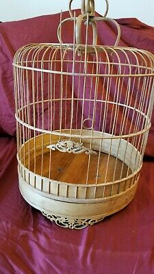 "Chinese Japanese style Bamboo Wicker Birdcage Vintage Antique? 13""round 22"" tall"