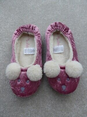 Mini Boden Girl's Pink Mouse Slippers Size 3 (EUR 36) Ex Condition