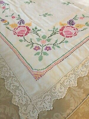 Beautiful Vintage hand embroidered linen tablecloth x stitch flowers