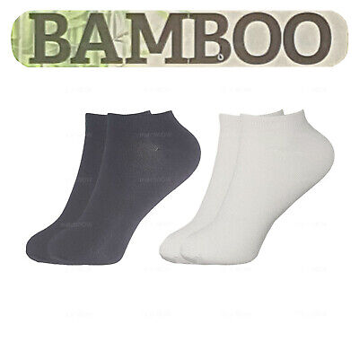 12 6 3 Pairs Mens Womens Plain Bamboo Trainer Socks Sports Gym Ankle Liner